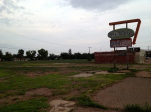 Only the sign remains at the site of the Lasso Motel, Tucumcari, NM, July 6, 2013
