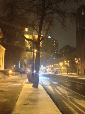 Walking north on Broad Street towards my home for the evening at the Doubletree Philadelphia. 1.2.2014