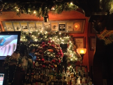 Playbills above the bar amidst Moriarty's holiday decor. 1.3.2014