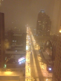 View looking south down Broad Street from my 26th floor room at the Doubletree. 1.2.2014