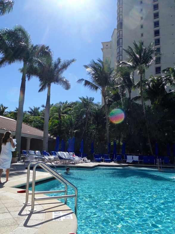 The Ritz offers an adult pool and a family pool. The adult pool was quiet, serene, and shaded. The family pool was abound with the laughter of children, playful, and sun-drenched. We chose the family pool.