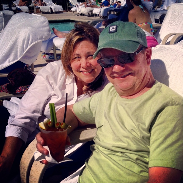 "Pool waitress says, ""The Bloody Mary is calling!"" She was right. Ritz Carlton, Naples, FL. February 2014."