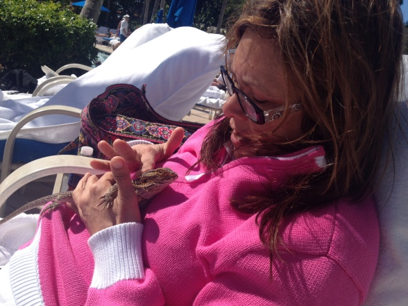 The Ritz does a lot for children, including introducing new friends. Here, DeLisa gets to know their Bearded Dragon.