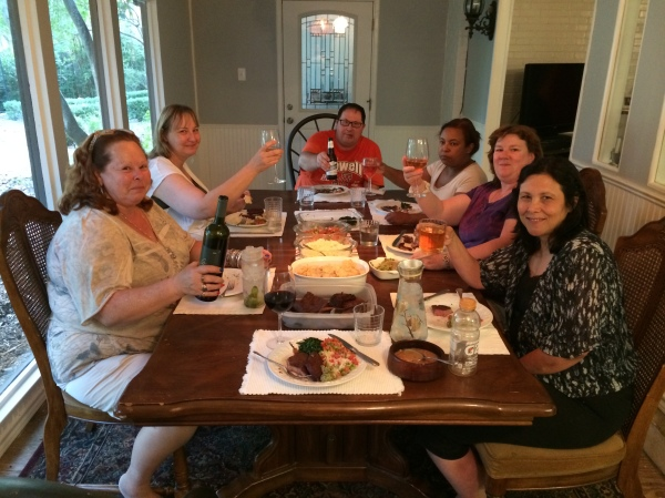 8.9.2014 Enjoying a delicious home-cooked Brazilian feast courtesy of the Dunn's.