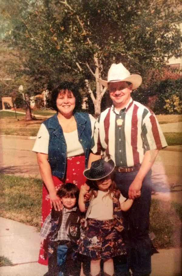 The Strege family ready for a day at the Houston Livestock Show & Rodeo, circa 2001