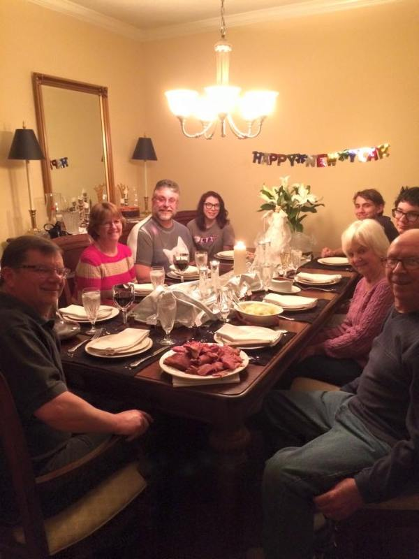 1.1.2015 Happy New Year! Gathered around the table for the traditional ham, black-eyed peas and boiled cabbage dinner. It's gonna be a great year!