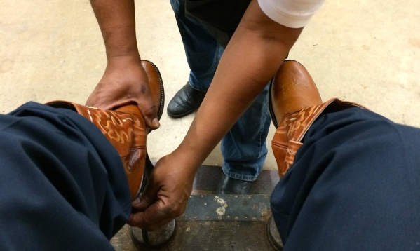Getting my boots shined at the Fort Worth Stock Show & Rodeo 2.3.2015